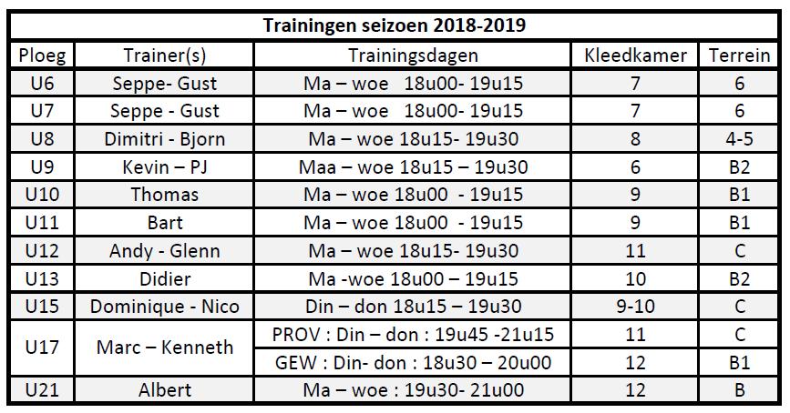 Jeugdschema 2018-2019