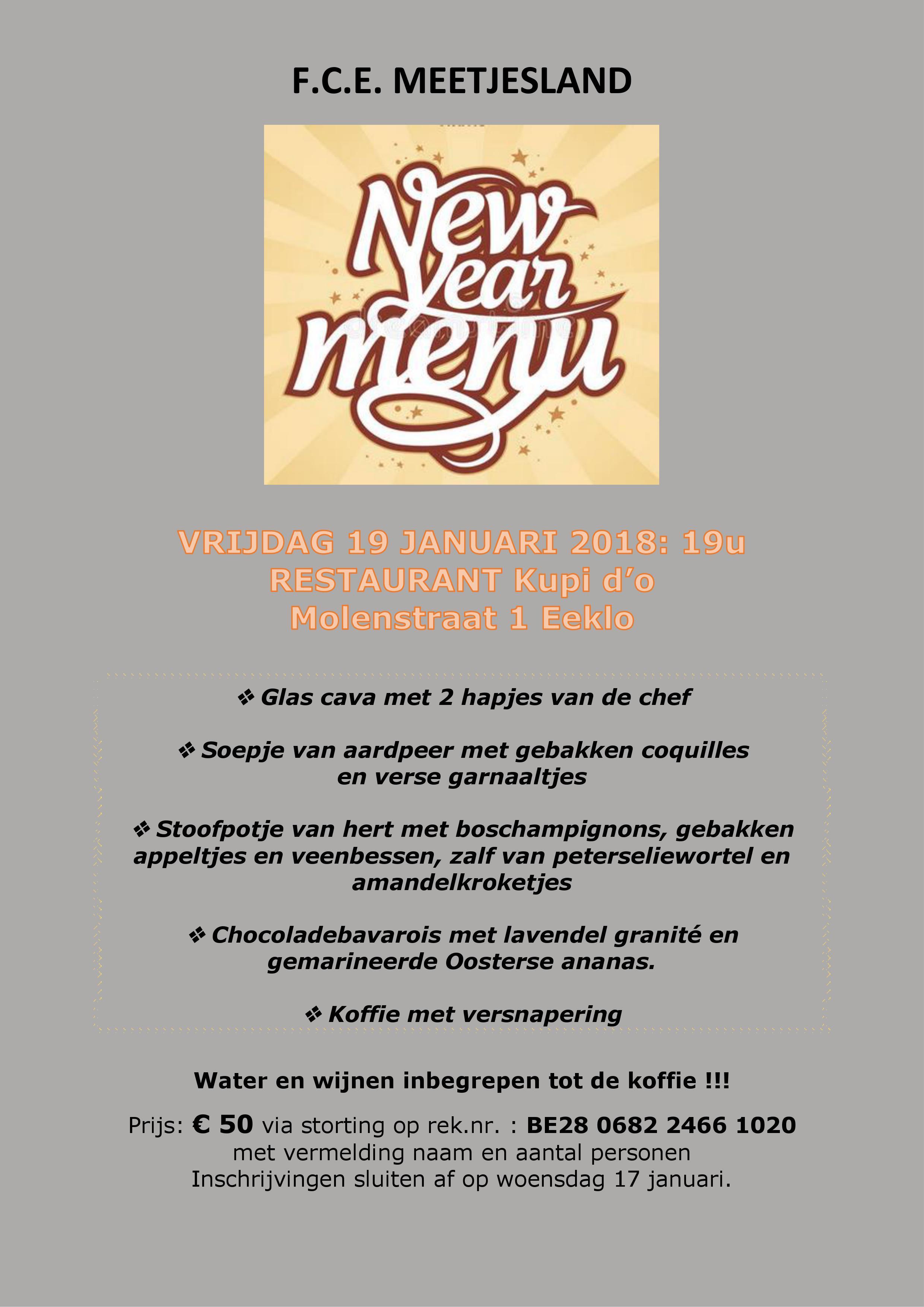 Uitnodiging etentje nieuwe jaar